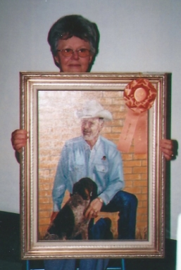005 - shirley with painting of Leland and pup