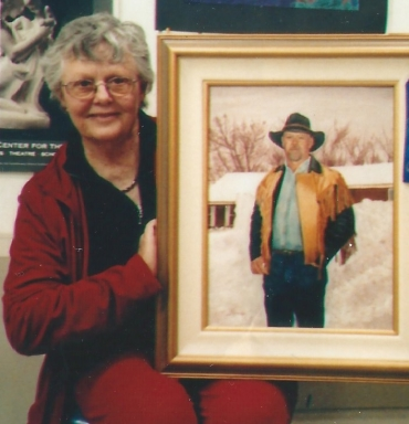007 - shirley with painting of her son greg
