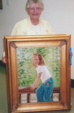 011 - shirley with painting of granddaughter oria