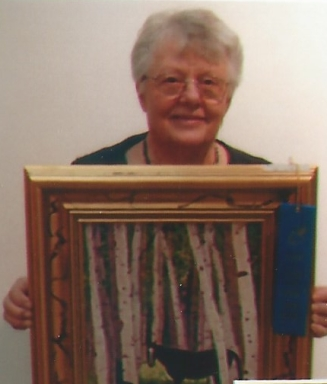 015 - shirley with picture of horse in woods