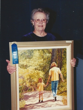 030 - shirley's painting of granddaughter oria won a blue ribbon
