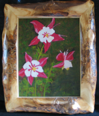 Red Columbines by Shirley Alexander Oil - 12 x 14 (16 x 19 - framed) $100