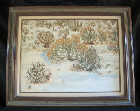 Snow In Sage Brush by Leland Alexander Oil - 24 x 18 (31 x 25 - framed) $400