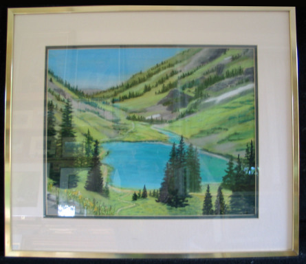 Emerald Lake  by Shirley Alexander Pastel - 16 x 20 (21 x 18 - framed) $150