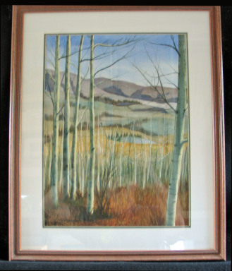 Aspens by Shirley Alexander Watercolor - 12 x 16 (18 x 21 - framed) $150